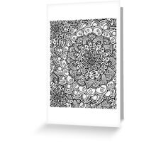 Shades of Grey - mono floral doodle Greeting Card