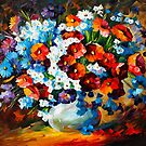 POPPIES AND CORNFLOWERS by Leonid  Afremov