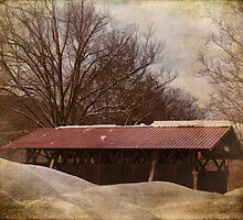Winter Covered Bridge by PineSinger