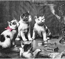 Four Curious Kittens And A Steaming Teapot by Tour Du Monde