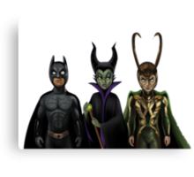 Batman, Maleficent & Loki  Canvas Print