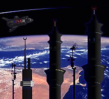 Space minarets by IslamicCards
