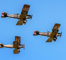 Bristol F.2b Fighters in vic formation by Colin Smedley