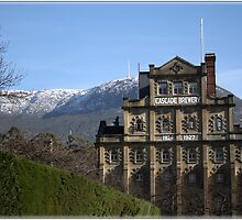 Cascade Brewery with snow on Mount Wellington by naturek