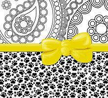 Dog Paws, Traces, Paisley - Ribbon and Bow - White Black Yellow by sitnica