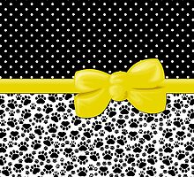 Dog Paws, Traces, Polka Dots - Ribbon and Bow - White Black Yellow by sitnica