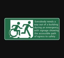 Everyone needs a way out of a building during an emergency, Accessible Exit Sign Project introducing the Accessible Means of Egress Icon by Egress Group Pty Ltd