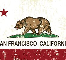 San Francisco California Republic Flag Distressed  by NorCal