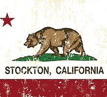 Stockton California Republic Flag Distressed  by NorCal