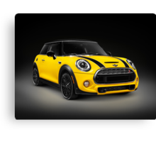 Yellow 2014 Mini Cooper S hatchback car art photo print Canvas Print