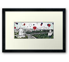 Balloon takeoff variation UK - digital file, summer, decor, wall art, modern, city, balloon, sky, colour, high, festival, bridge by hannah glanvill Framed Print