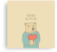 Bear in love Canvas Print