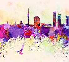 Munich skyline in watercolor background by Pablo Romero
