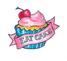 Retro 'Eat Cake' Tattoo Design by pastelesta