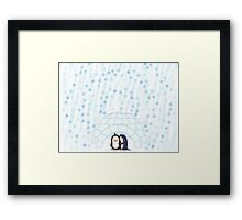 Penguins In Igloo While Snowing Art Framed Print