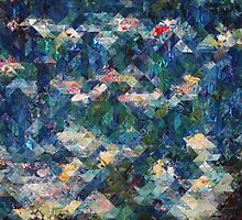 Abstract Water Lillies Quilt by fandoms-fineart