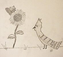 Blue Jay and Baby Squirrel near a Sunflower by fandoms-fineart