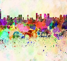 Tel Aviv skyline in watercolor background by Pablo Romero