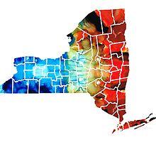 New York - Map By Sharon Cummings by Sharon Cummings