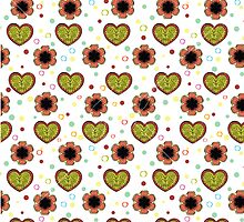 Heart And Flowers Pattern White by Kireeva