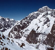Near top on last cable facing Mont Blanc massif Courmayer Italy 198404270059 by Fred Mitchell