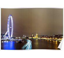 View from Hungerford Bridge, London Poster