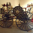 Classic Fire Engine, Hand-Pulled Hose Reel, Circa 1875, New York City Fire Museum, New York City by lenspiro