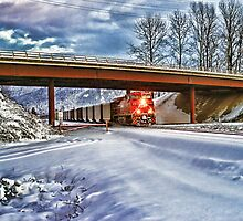 CP Rail Coal Train in the Snow by rharrisphotos