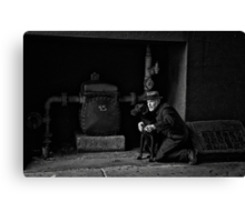The Detective with his dog Canvas Print
