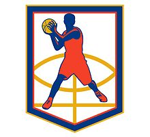 Basketball Player Passing Ball Shield Retro by patrimonio