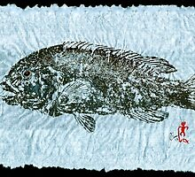 Gyotaku Tautog on Rice Paper w Black Border by IslandFishPrint