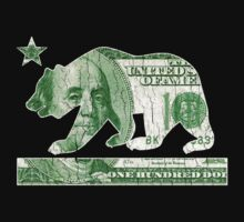 California Money Bear Flag (vintage distressed look) by robotface