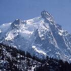 Mountain with observatory on top from Chamonix France 198404270081 by Fred Mitchell