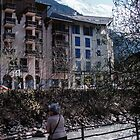 Marj looking at stream through Chamonix France 198404270082  by Fred Mitchell