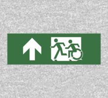 Accessible Means of Egress Icon and Running Man Emergency Exit Sign, Left Hand Up Arrow Kids Clothes