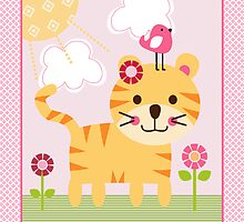 Sunshine Safari Tiger with bird and flowers by DianesDesigns
