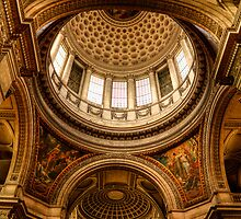 The interior dome of the Pantheon in Paris by Elana Bailey