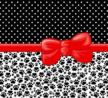 Dog Paws, Traces, Polka Dots - Ribbon, Bow - White Black Red by sitnica