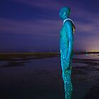 Crosby Beach Iron Man At Night by Paul Madden