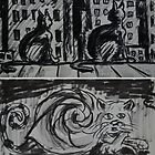 "Ink Sketches - ""Night View"" and ""Snail Cat"" by Igor Pozdnyakov"