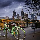 Night and Green Bike by Mick Kupresanin