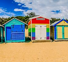 Bathing Boxes Triptych, Middle, 2 of 3 by Russell Charters