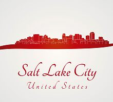 Salt Lake City skyline in red by Pablo Romero