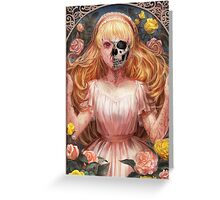 Little Zombie Girl in Garden Greeting Card