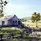 Farm Shed - Morning Light and Shadows by Joe Cartwright