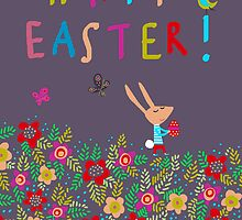 HAPPY BUNNY EASTER CARD by Jane Newland