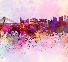Warsaw skyline in watercolor background by Pablo Romero