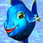 Cute Blue Fish Cartoon 3D Digital Art by BluedarkArt