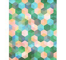 Child's Play - hexagon pattern in mint green, pink, peach & aqua Photographic Print