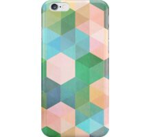 Child's Play - hexagon pattern in mint green, pink, peach & aqua iPhone Case/Skin